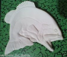 BASS FISH TEABAG HOLDER CERAMIC U PAINT JEWELRY tray dish spoon Rest hand made
