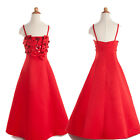 Red Satin Flower Girl Formal Wedding Bridesmaid Party Pageant Dress Age 2 4 6 8+