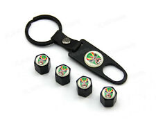 Black Tire Stem Air Dust Valve Caps Wrench Key Chain Beijing Opera Facial Green