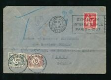 BELGIUM POSTAGE DUE 1936 from FRANCE EXPO SLOGAN 1F40 + 70c NAMUR
