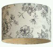 Vintage Grey Rose Floral Cream Ivory Drum Ceiling Light Shade Pendant NEW