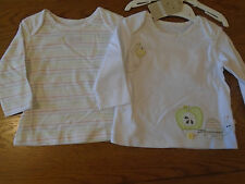 BNWT baby girl/neutral M&S set of 2 t-shirt tops with tortoise and bee. 3-6 mth