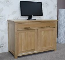 Windsor solid oak furniture hidden home office computer desk with felt pads