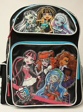 "Monster High Large 16"" Backpack Black background with sky blue Licensed Product"