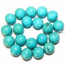 NG2543f Blue-Green Turquoise 20mm Round Magnesite Gemstone Beads 15""