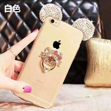3D Cute Luxury Bling Diamond Hello Kitty Ring Holder Stand Soft Clear Case Cover