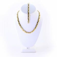 """Hugs and Kisses Necklace Bracelet Set Stampato Stainless Steel Gold Plated 18"""""""