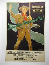 Original 1938 Scouting Marches On Norman Rockwell Boy Scout Poster Vtg Old Patch