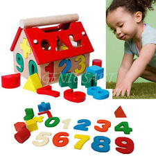 Kid Baby Educational Toy Wood House Building Intellectual Developmental Blocks