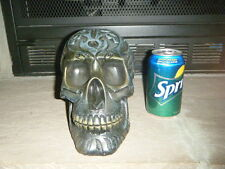 FLAT BLACK HUMAN SKULL PROP DETAILED CARVED DESIGNS COOL LOOKING PIECE SOLID HTF