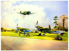 Late Return Spitfires Beautiful Print Picture Painting Battle of Britain Posters