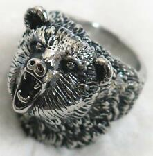 WILD BEAR STAINLESS STEEL RING size 13 silver metal S-506 bears head w teeth new