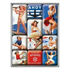 SET DE 9 MAGNETS : PIN-UP EVOQUANT LA MARINE