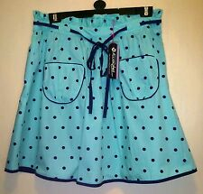 TAYBERRY AQUA NAVY BLUE POLKA DOT LINED VINTAGE RETRO KITSCH SKIRT SIZE 10-18