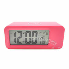 Digital Smart LCD LED Snooze Alarm Clock Date Temp Battery Rechargeable Charge