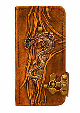 Chinese Dragon Pendant iPhone 6 Case Handmade Vintage Leather Flip Wallet Cover