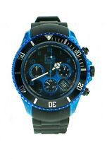 ICE BIG BLACK & BLUE PLASTIC CHRONOGRAPH MENS WATCH RUBBER STRAP CH.KBE.BB.S.12