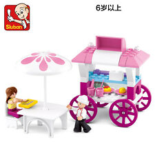 pink dream Bread Dining car Wheels on Meals Building toys 78PCS Fit lego #0522