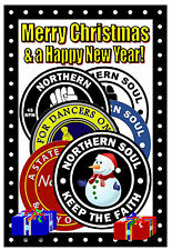 NORTHERN SOUL (PATCHES) - MERRY CHRISTMAS & NEW YEAR CARD - GLOSS FINISH - NEW