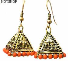 Earrings Gold Plated With Orange Pearls Jhumka, Jhumki Earrings  .