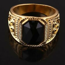 Men 14k Gold Filled Austrian crystals Black fashion Size 12 Ring jewelry A886