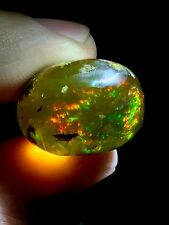 48.5ct Natural Rough Ethiopian Welo Opal Green Red Flash Contraluz (untreated )