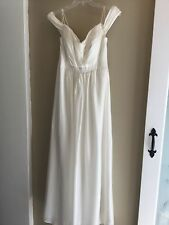 Kay UNGER Destination wedding bridal social silk dress gown off shoulder 12 New