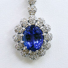 4.20 ct Oval Cut Tanzanite Natural Diamond Pendant 14k White Gold