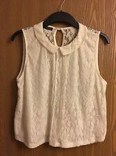 Size 12 - White Cream Lace Top - Sleeveless Blouse - Collar - Primark Atmosphere