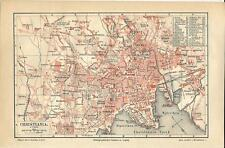 Carta geografica antica OSLO Christiania Pianta della città 1890 Old antique map