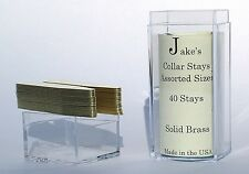 "40 Solid Brass Metal Collar Stays For Dress Shirts 2.15"" Inch Jake's Small"