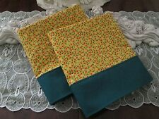 COUNTRY COTTAGE SET OF 2 TINY RED, WHITE & GREEN  FLOWERS ON YELLOW PILLOWCASE