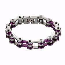 Bikers Motorcycle Chain Bracelet Womens Purple / White Simulated Stones Classy