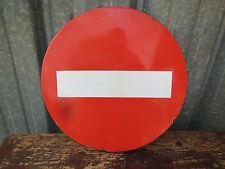 ancien panneau signalisation routière émaillé sens interdit atelier usine indus