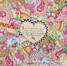 BonEful FABRIC FQ Cotton Quilt Pink Flower Valentine Rose Country Check Heart US