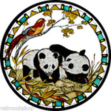 STAINED GLASS WINDOW ART - STATIC CLING  DECORATION -PANDAS