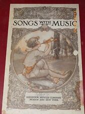 1920 Songs with Music Kindergather Childern's Hour Illustrated Alice Wyman