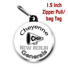 Two Personalized 1.5 Inch Cheer Graphics Zipper Pull Bag Tags Name, Team, Colors