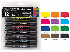 Winsor & Newton Brushmarker 12 Pen Brush Marker Set - Vibrant Tones