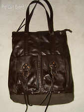 "Rip Curl Brand Large Brown Cotton &  Vinyl Tote Satchel Handbag - 15"" x 18"""