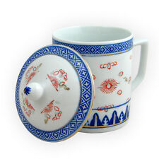 Boxed 2 Pieces China Blue & White Porcelain Tea Mug - Rice Pattern Doodle Design