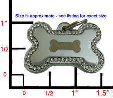 LRG DESIGNER Bling Bone Pet Dog ID Tag Charm-.. FREE ENGRAVING