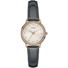 Ladies Guess Chelsea rose plated & leather watch W0648L2