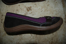 Dark Brown & Plum Purple Sueded Material LANDS END Low Slip on Shoes w/Strap 8 B