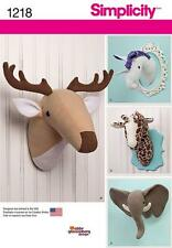 SIMPLICITY SEWING PATTERN elephant deer giraffe & unicorn animal heads 1218 A