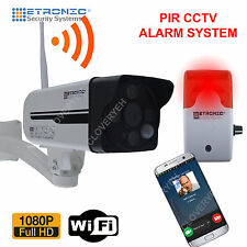 HD IP Wifi CCTV Camera alrm system security Alarm siren PIR GSM LED outdoor