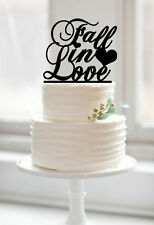Fall In Love Custom Words Rustic Glitter Cake Topper for Wedding Supplies