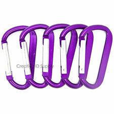 "LOT 50 HIGH QUALITY PURPLE CARABINER SPRING BELT CLIP KEY CHAIN 2.25"" ALUMINUM"