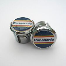 Vintage Style Team Panasonic Chrome Racing Bar Plugs, Caps, Repro