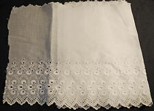 "ANTIQUE LACE UNUSED COTTON MACHINE EMBR. EYELET SCALLOPED LACE TRIM 77"" x 12-3/4"